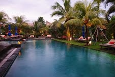 chill out by this pool at our Bali Bikram Yoga retreat in August 18 - 25