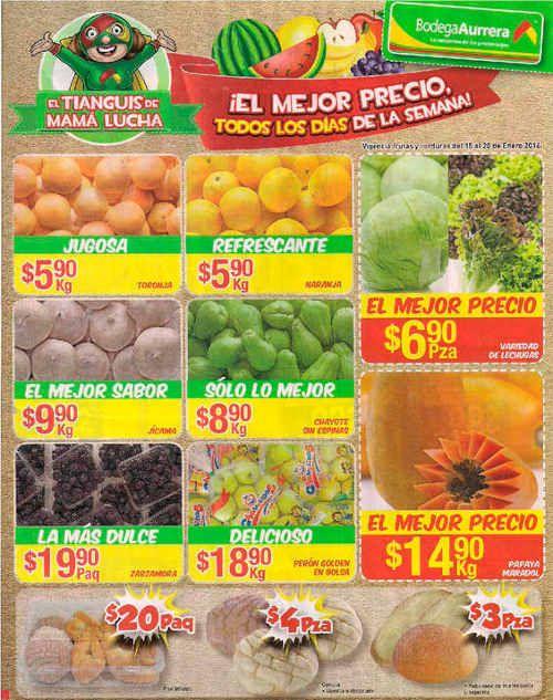 Bodega Aurrera frutas y verduras enero 17