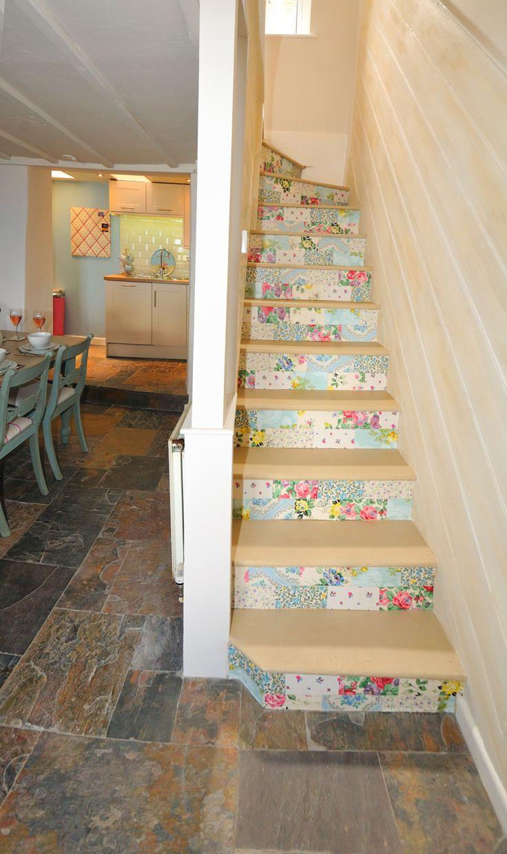 Staircase at holiday let, Guillemot Cottage, Brixham, Devon. Decoupaged with vintage wallpaper by Sarah Moore Vintage. Http://www.guillemotcottage.co.uk