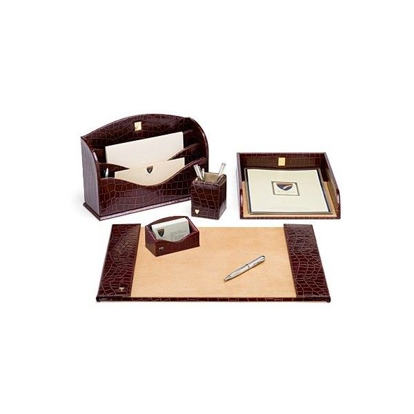 Aspinal of London Chairmans Desk Set In Deep Shine Amazon Brown Croc... (8.300 DKK) ❤ liked on Polyvore featuring home, home decor, office accessories, accessories, burgundy, small leather goods, aspinal of london, red wine rack, brown desk pad and hand made pens