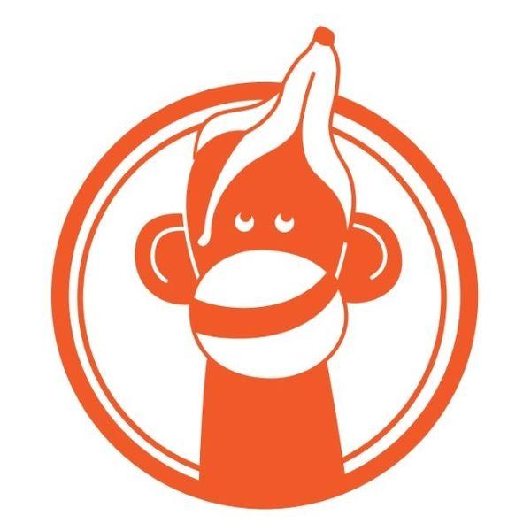 Cheeky Monkey Button, orange, Velours Motiv zum Aufbügeln ...