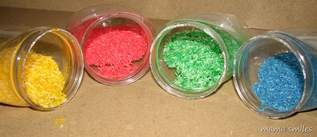 Make your own colored rice for sensory bins and art projects!
