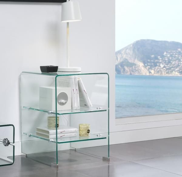 Aria, modern side, lamp or bedside table in clear glass