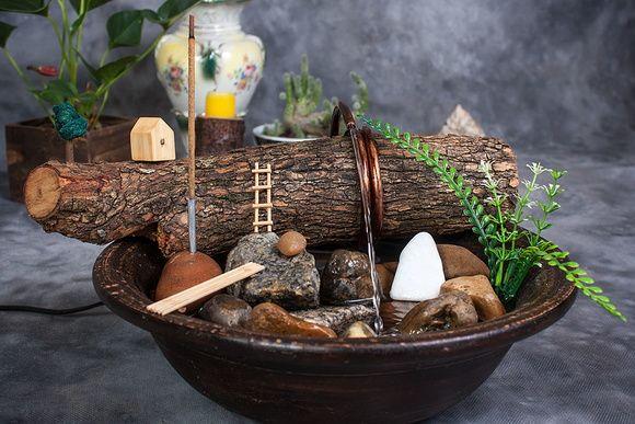 Fonte de água 100% artesanal pedras naturais incensário 3