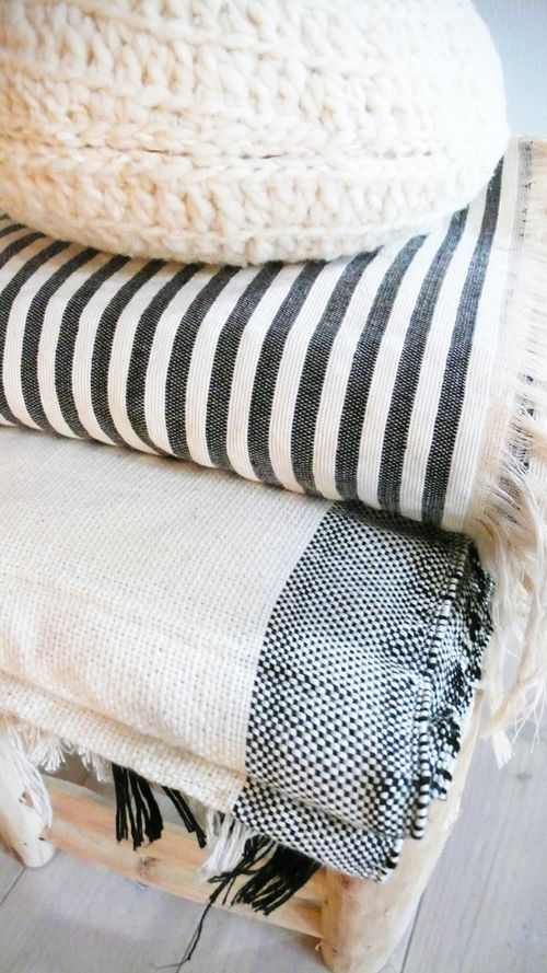 Image of Stripe Cotton Moroccan Blanket - Ecru with Grey stripes