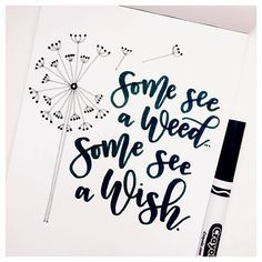 """""""Some see a weed some see a wish"""" beautiful black and white hand lettering with small illustration of a dandelion"""