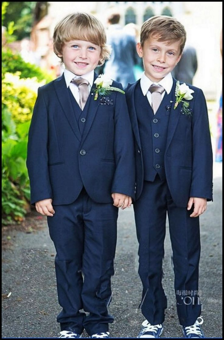 Online Top Custom Made Kid Clothing New Style Complete Designer Boy Wedding Suit Boys Attire Navy Blue Jacket Pant Tie Vest Tuxedo