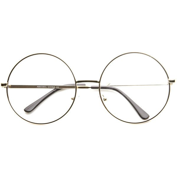 Vintage Era Super Large Round Circle Metal Clear Lens Glasses 8714 ($9.99) ❤ liked on Polyvore featuring accessories, eyewear, eyeglasses, glasses, oversized eyeglasses, metal frame eyeglasses, vintage round glasses, circle eyeglasses and clear eye glasses