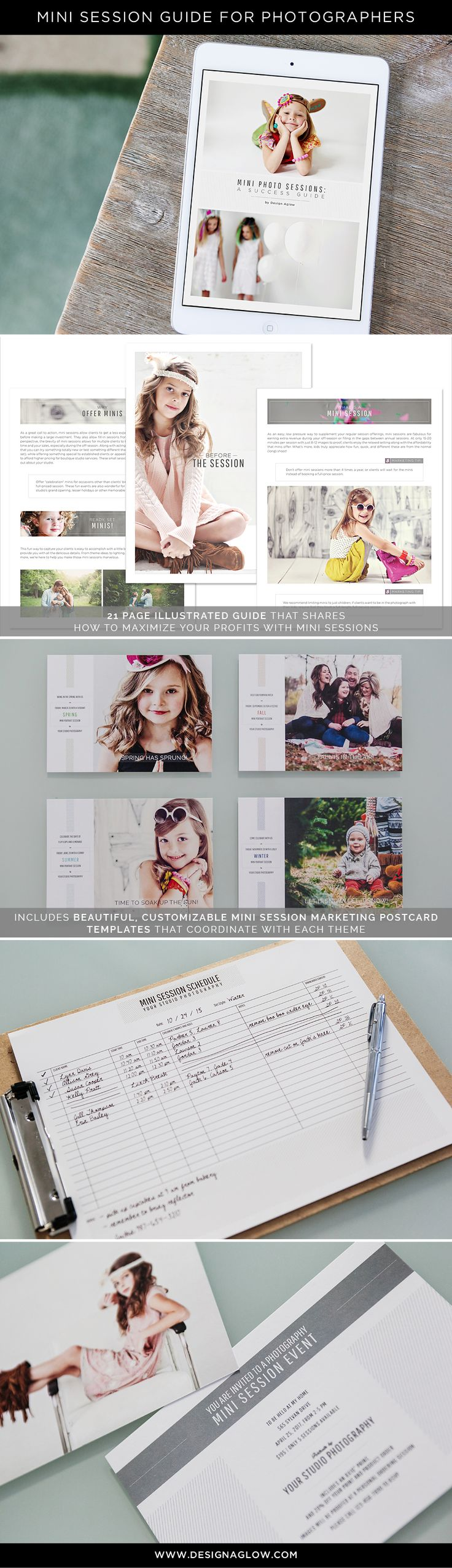 Ideal for building buzz, bringing in new clients, and generating business during slower times of the year, our comprehensive Mini Session package will get you started as soon as you download! #designaglow