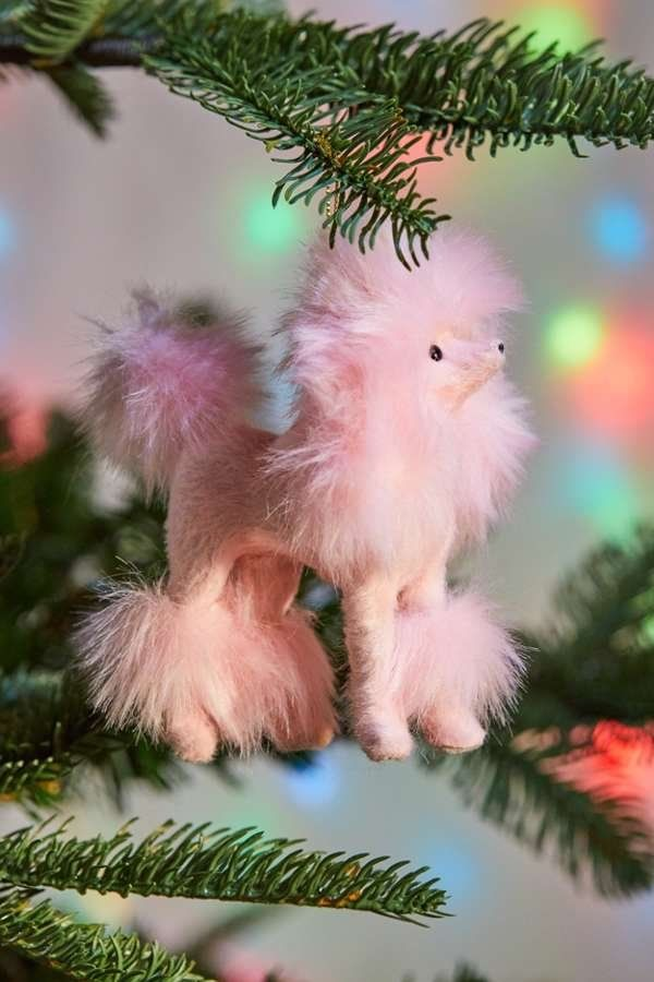 Perky Pink Poodle Christmas Ornament