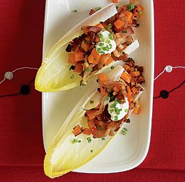 endive spears with sweet potato, bacon and chives- fun appy idea