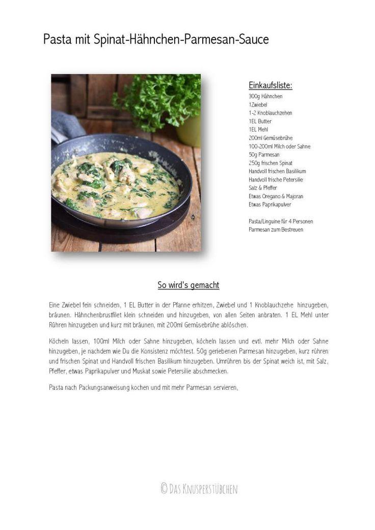 Pasta mit Spinat-Haehnchen-Parmesan-Sauce - Chicken Parmesan Spinach Pasta