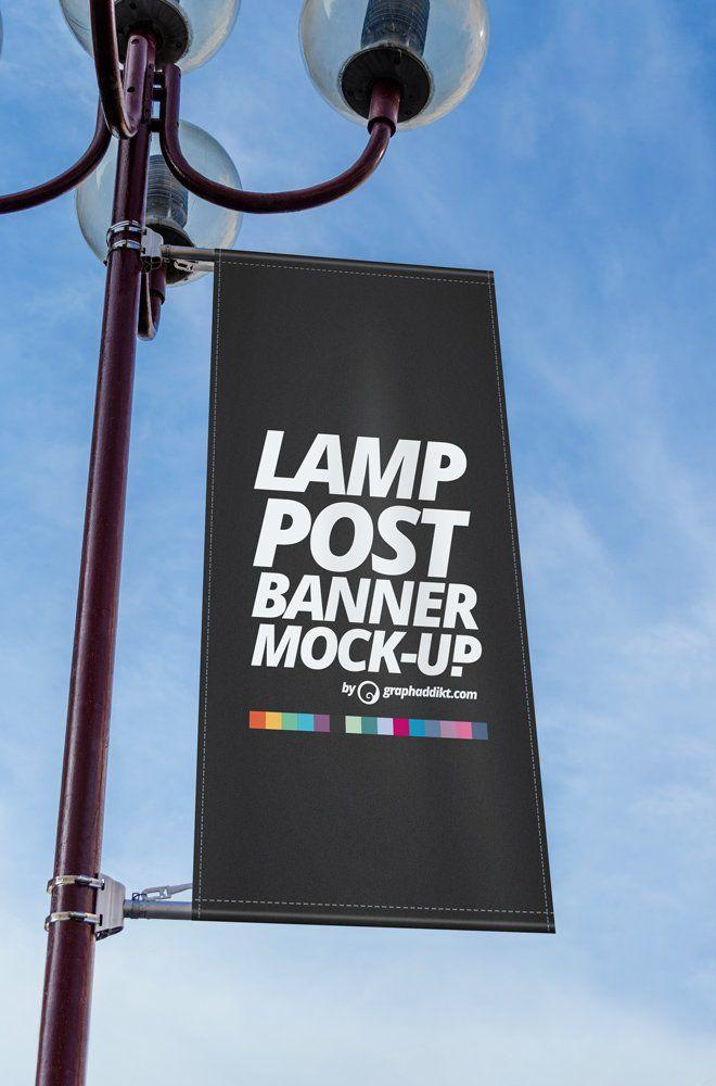 Lamp Post Banner Mockups Pole Banners Banner Sign Board Design