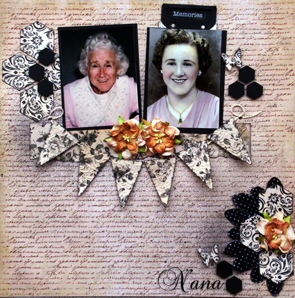 Kym C's gorgeous LO featuring her much loved Nana. Kym's inspiration came from the swirls on the mask featured in the MoodBoard and to a leser extent the colours which she has shown in the flowers she has used.