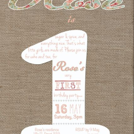 First Birthday party invitation. Burlap design with english rose details. The colour theme chosen in this sample is soft pink.