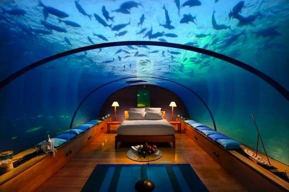 Hilton Maldives Hotel's underwater suite.. that would be so. cool.