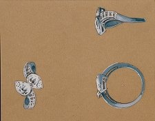 A diamond ring by Lorenzo Homar for Cartier, sometime in the 1940's: Jewelry Sketch, Jewelry Rendering, Jewellery Drawing