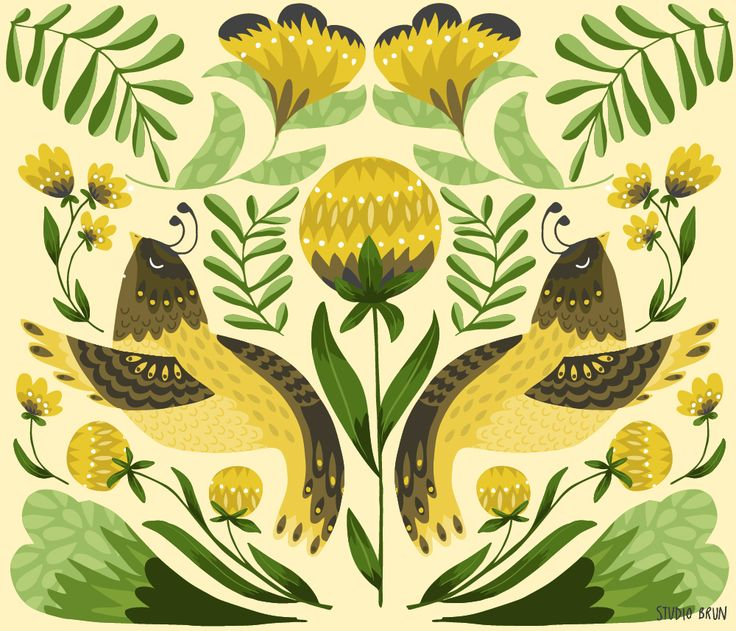 Two birds - folklore folklore art illustration illustrated birds birding nature flowers floral pattern  www.studiobrun.nl