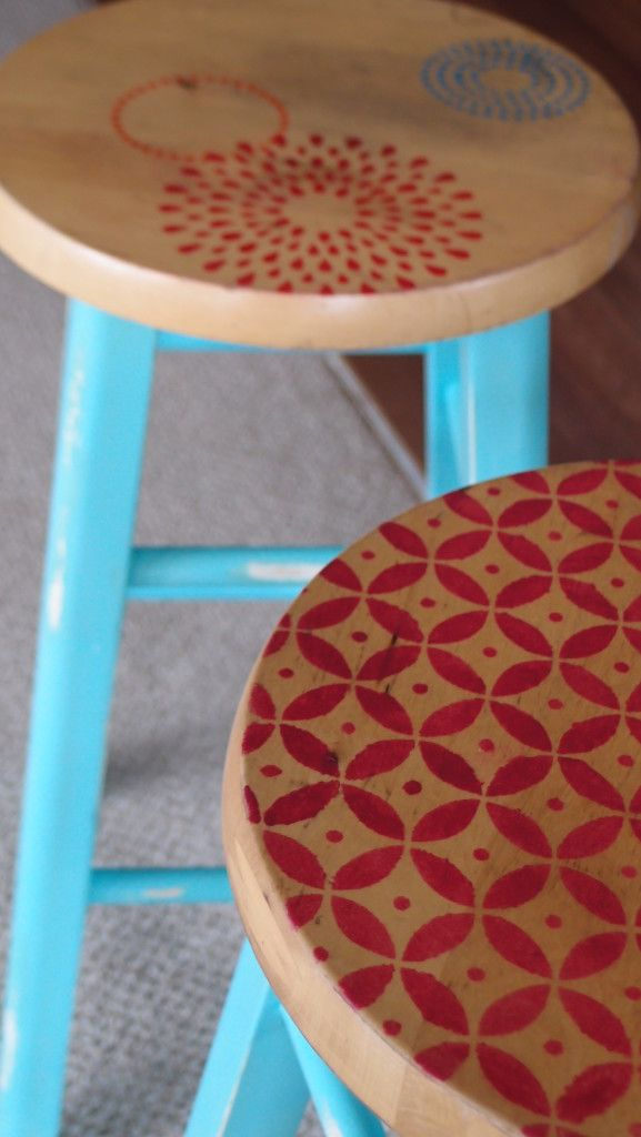 Hand painted bar stools, love the coors