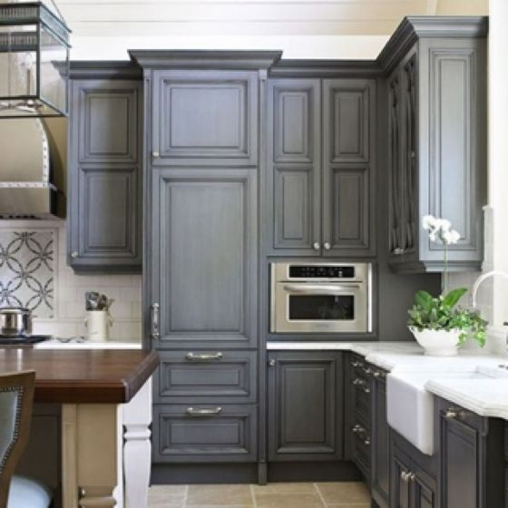 Gray kitchen cabinets love this! Then you can make it pop with any color for the season