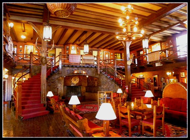 """The beautiful lobby of the Hotel El Rancho in Gallup, New Mexico. The Hotel El Rancho is a historic icon along old Route 66."""