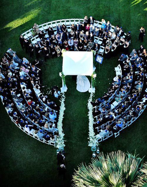 aerial view of wedding in the round. Getting married literally surrounded by loved ones.