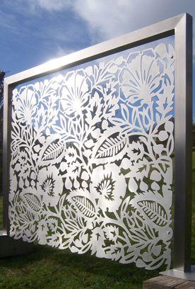 Brushed stainless steel panel by outdoor / indoor screens, balconies, balustrades, garden features wall art. # www.designtograce.co.uk
