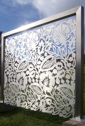 Brushed stainless steel panel by outdoor / indoor screens, balconies, balustrades, garden features & wall art. #    www.designtograce.co.uk