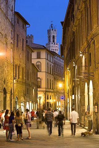 Via Banchi di Sopra y la parte superior de la torre del ayuntamiento, Siena, Toscana, Italia