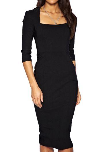 Charming Half Sleeve Knee Length Dress Solid Black