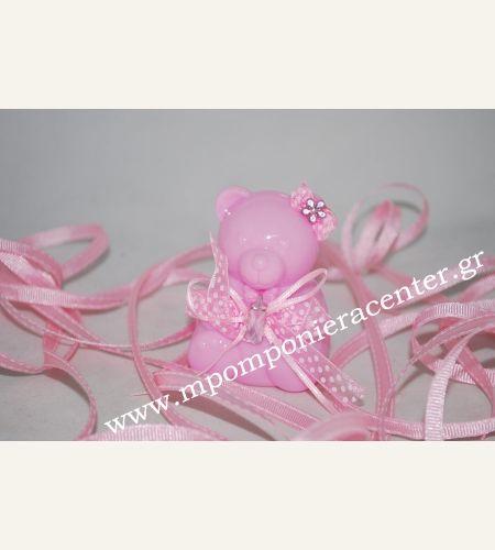 Κέρασμα γέννας αρκουδάκι ροζ κουτάκι