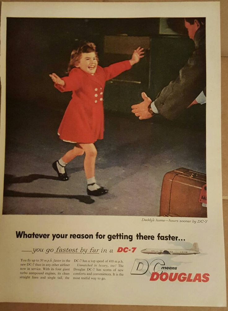 "Mint Vintage ad! 1955 DC Douglas ad entitled ""Daddy's Home"" by SweetbriarTreasures on Etsy"