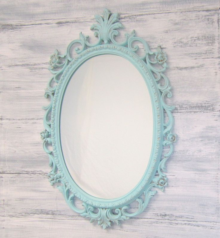 Shabby chic nursery framed vintage mirror distressed teal for Fancy white mirror