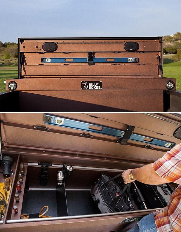 Billy Box.  Handmade to order in Austin, Texas, these aluminum truck bed toolboxes are custom-built to suit your specific needs. Choose a color, select organization components like dividers & compartments, then the add-ons like LED lighting, speakers, a V-Grip rack system for holding guns or tools, and more.
