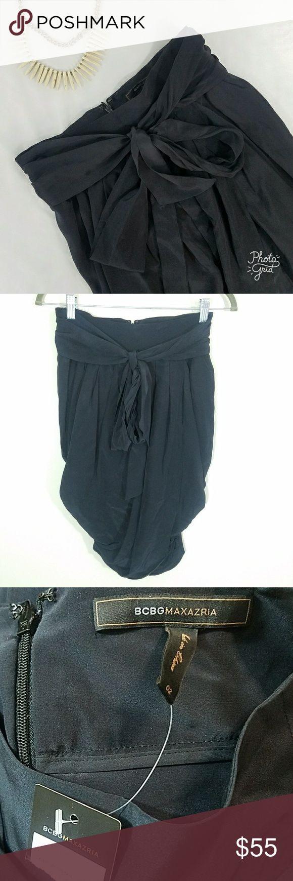 BCBGMAXAZRIA Tie Waist Tulip Silk Skirt w/ Pockets BCBG NWT skirt Tie waist skirt with pockets; tulip drape; 100% silk BCBGMaxAzria Skirts