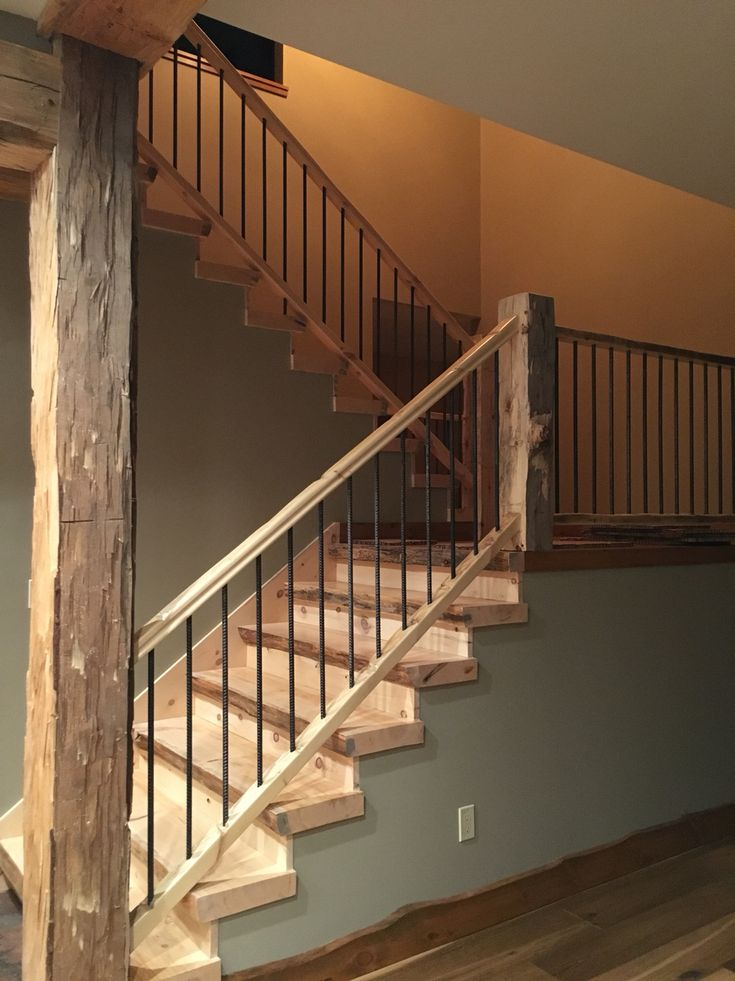 Stairwell Rustic Design using #5 Balusters. All material harvested from construction site.