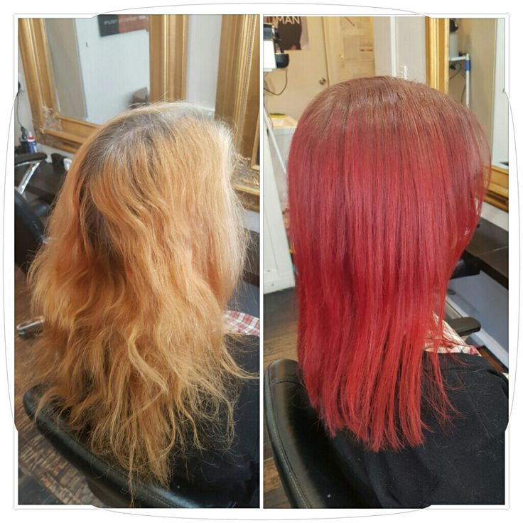 Faded orange to siren redhead ombre and cut