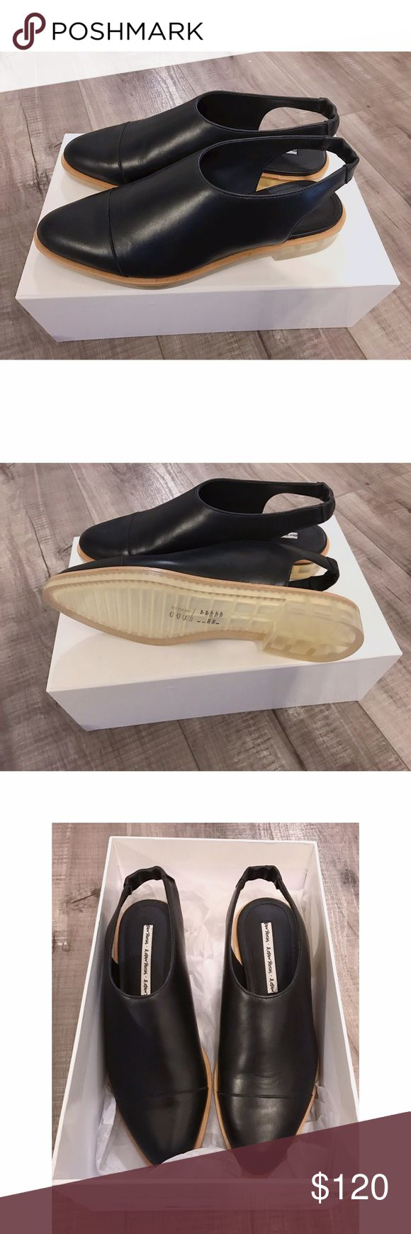 & Other Stories Black Leather Oxford Mule Flats 37 Beautiful black mule shoes in a minimal style you can wear with anything. Dress them with skinnies or cute shorts and a bathing suit. Or button down skirts and a tight tee. These are so cute and elegant. Hard to find! Like Reformation style shoes. Never worn. NEW. With tags and box. By & Other Stories. True to size 37/7 7.5. Not 8. & Other Stories Shoes