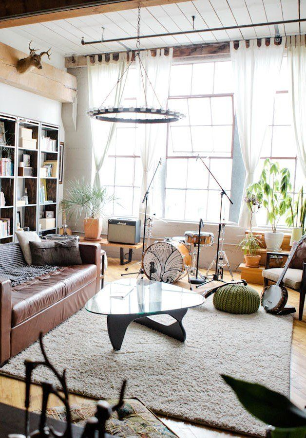Lofty eclectic living room in Oakland