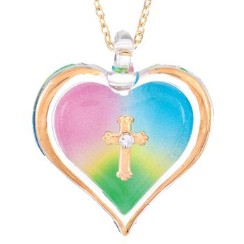 Glass Baron Rainbow Heart with Cross Pendant on Chain  #valentines #love #heart #glassbaron #jewelry #necklace