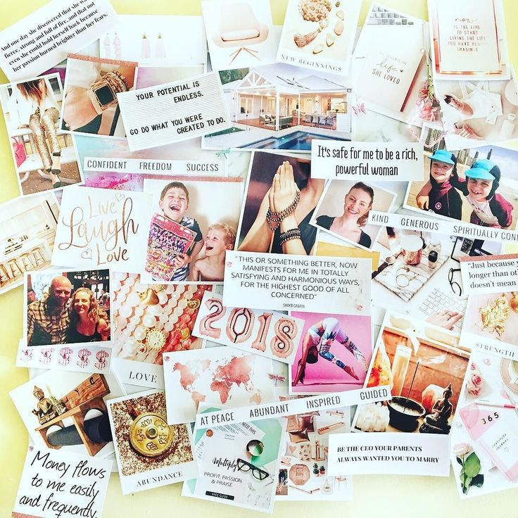 """2018 Vision Board done... last minute decision yesterday but it was so fun!! It has been a long time since I have had a vision board but I watched @thinkcreativecollective Facebook Live yesterday where they created their Vision Board on the Live (I will put a link in the comments) and 2 things changed for me.  1 - The intention of the Vision Board - I have always used a Vision Board as a Goal Setting Board but on the Live yesterday the girls mentioned using it as a """"feeling' for the year which i"""