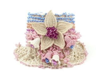Bracelet-Handmade Crochet Beadwork Bell Flowers by PinaraDesign