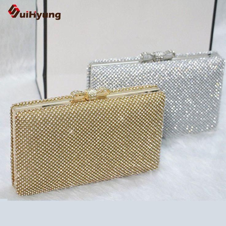 New  Women's Clutch Top Luxury Full Diamond Hard Box Evening Bag Rhinestone Bow Wedding Party Bridal Handbag Purse Shoulder Bag