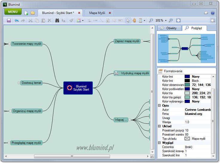 Blumind PL - Darmowy program do tworzenia map myśli, mind map.