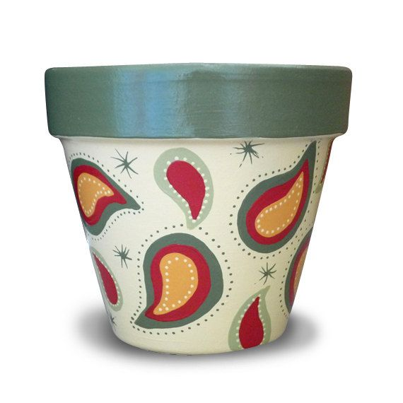 Paisley Flower Pot in Cream & Green by MicheleCordaroDesign, $17.00