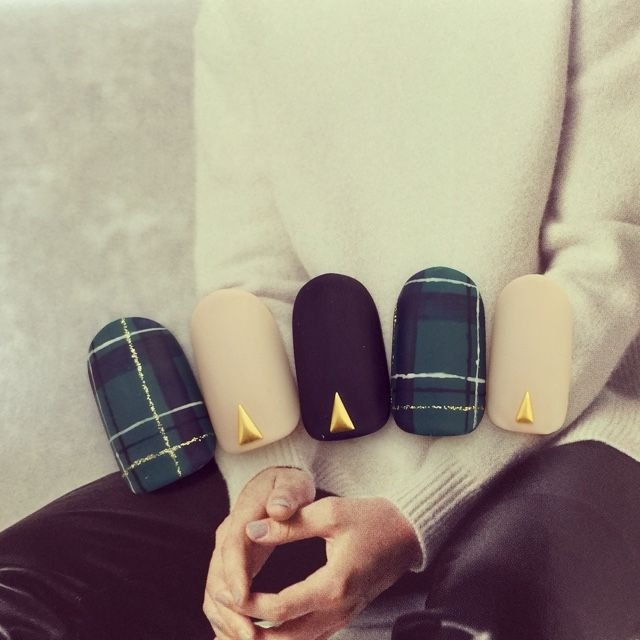 green, black & nude matte plaid nails with triangle stud