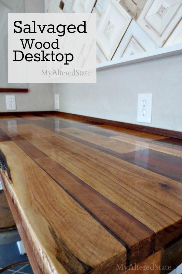 DIY salvaged wood desktop