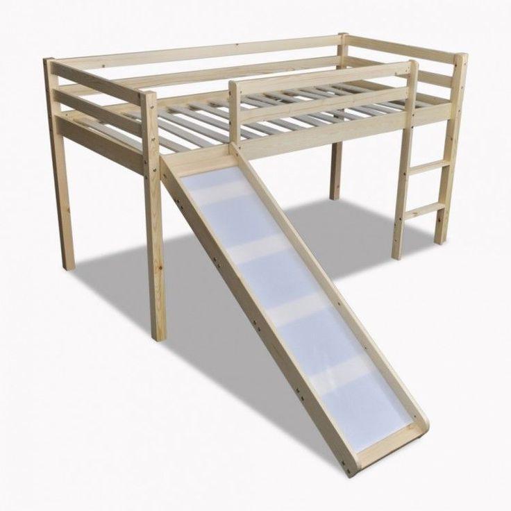 Childrens Loft Bed Natural Wooden Frame Slide Ladder Bunk Bedroom Home Furniture #ChildrensLoftBed