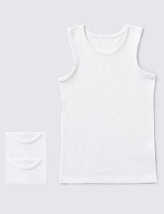 2 Pack Sleeveless Vests (2-16 Years) | M&S