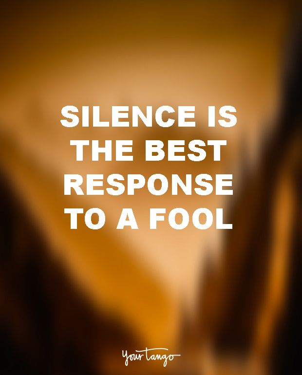 """Silence is the best response to a fool."" — Unknown"